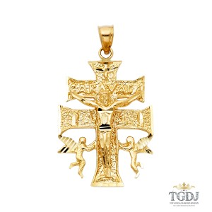 Top Gold & Diamond Jewelry Religious Cross of Caravaca Pendant, 14K yellow Gold Religious