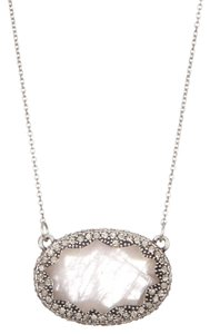 House of Harlow 1960 House of Harlow Silver and Rose Quartz Pendant Necklace