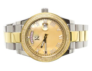 Techno Com by KC Mens 2 Tone Stainless Steel 41mm Techno Com KC Day-Date Diamond Watch