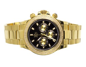Techno Com by KC Mens Ladies Yellow Stainless Steel Techno Com KC Daytona Diamond Watch