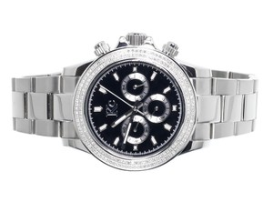 Techno Com by KC Mens Ladies White Stainless Steel 41mm Techno Com KC Daytona Diamond