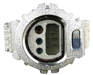 G-Shock Casio Mens G Shock 6900 Iced Out Jojo White Simulated Diamond Watch