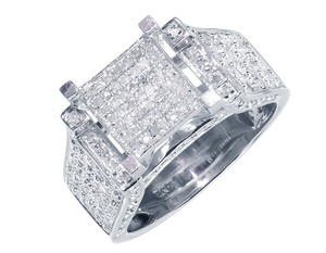 Other New XL White Gold Finish Ladies Round Pave Diamond Engagement Fashion