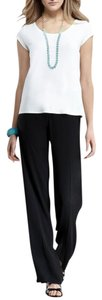 Eileen Fisher Silk Flowy Comfortable Lightweight Packable Relaxed Pants Black
