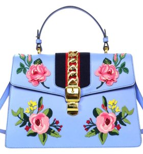 Gucci Novelty Applique Chain Floral Satchel in blue