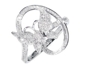 Other Ladies White Gold Finish Swirl Diamond Fashion Butterfly Fashion Ring