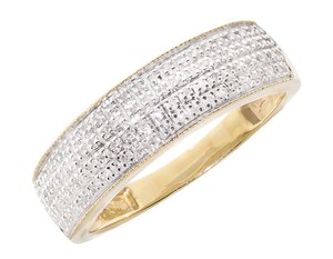 Other 10k Yellow Gold Mens Pave Round Real Diamond Milgrain Band Ring .50ct