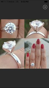 14kt White Gold Simulated Solitaire Diamond Ring