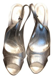 Sergio Rossi silver and white Platforms