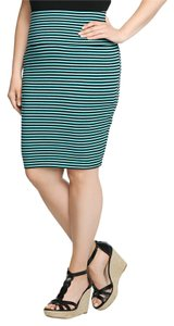 Torrid Striped Bandage Bodycon Date Night Night Out Mini Skirt Black/Teal