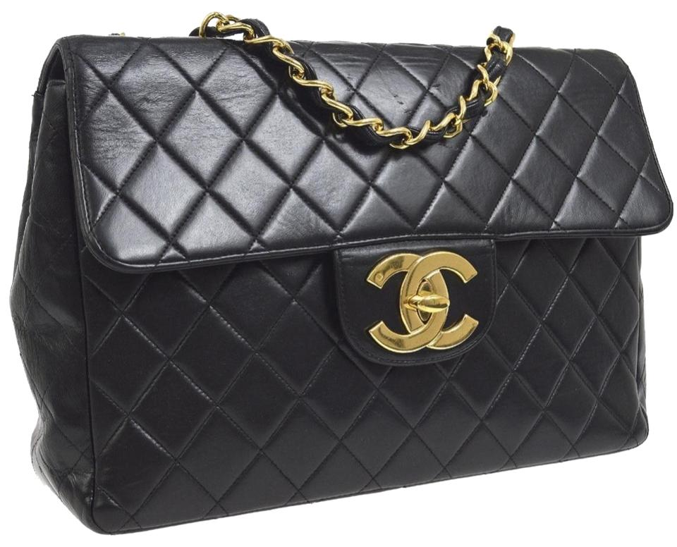 c659af265cfc Chanel Classic Flap Cc Jumbo Double Chain Black Lamb Leather Shoulder Bag