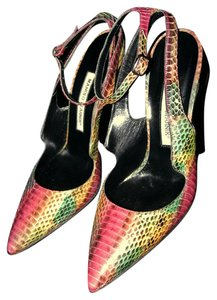 Manolo Blahnik Pumps Python Size 38 Multipink Rainbow Sandals