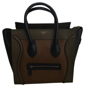 Céline Satchel in blue, green and brown