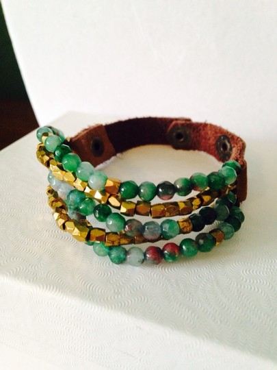 Panacea Cache Panacea Shades Of Green Faceted Gemstones Leather Bracelet