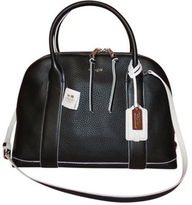 Coach Preston Leather Bleecker Edgepaint Satchel in Black