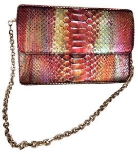 Judith Leiber Stunning Unique Python and snakeskin multicolor shimmer Clutch