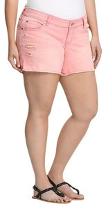Torrid Distressed Destructed Vacation Frayed Mini/Short Shorts Coral