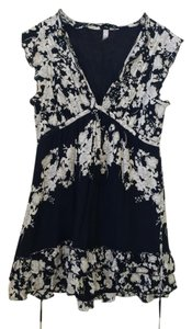 Free People short dress Black and White Tie Floral Deep V Bohemian on Tradesy