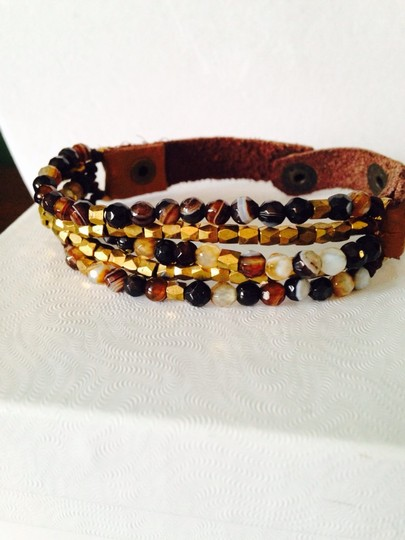 Panacea Cache Panacea Shades Of Black/Brown Faceted Bead Leather Bracelet