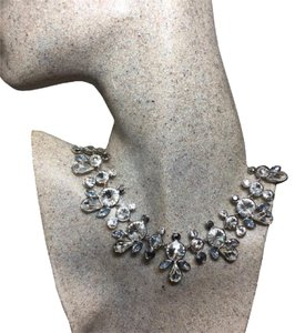 Givenchy Authentic Vintage Grey Clear Crystal Cluster Collar Necklace