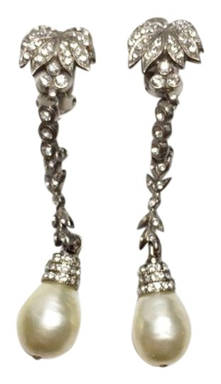 Chanel Authentic 1970s Vintage Palm Tree Gripoix Pearl Dangle Earrings