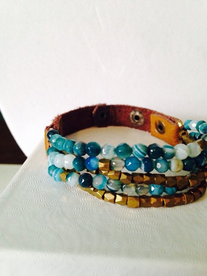 Panacea Cache Shades Of Turquoise Blue Faceted Bead Leather Bracelet