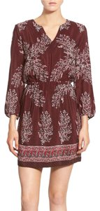 Madewell short dress Burgundy Indian Indian Inspired Silk Lassi Floral on Tradesy
