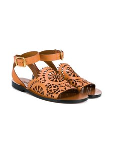 Chloé Italian Leather Open Toe Ankle Strap Brown Sandals
