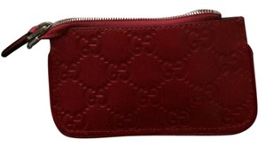 Gucci Gucci 233183 Gg Leather Clip Key Case Coin Wallet Red