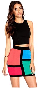 Forever 21 Colorblock 80s Skirt Multi