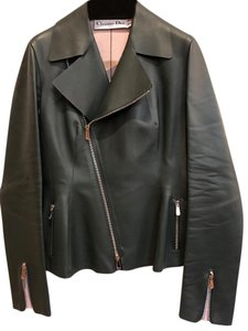 Dior Leather Motorcycle Dark Green Leather Jacket