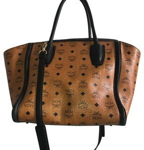 MCM Tote in Dark tan and black