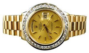 Rolex Pre-Owned Mens 36MM Rolex President Day-Date 18k Yellow Gold Diamond