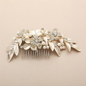 Mariell Couture Bridal Hair Comb With Hand Painted Gold Leaves & Crystals