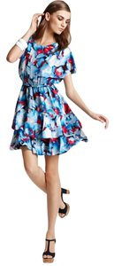 Cynthia Steffe Silk Cold Ruffle Asymmetric Print Dress