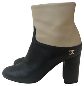 Chanel two tone beige and black Boots