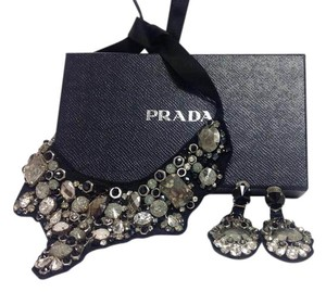Prada Prada Silver beaded Bibb necklace with matching earrings