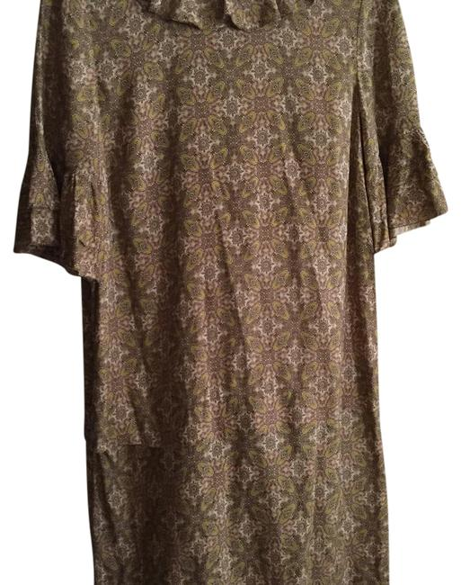 Item - Pretty Green and Pink Paisley Mid-length Work/Office Dress Size 0 (XS)
