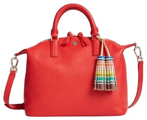 Tory Burch Leather Satchel in Red Vermillion