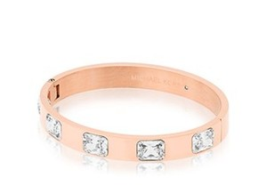 Michael Kors NIB MICHAEL KORS BRILLIANCE ROSE GOLD CRYSTAL HINGE BANGLE BRACELET
