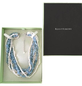 Ross-Simons Aquamarine and Peal Multi-Strand necklace with 3