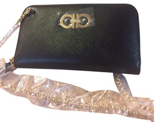 Salvatore Ferragamo New With Tag Leather Wallet On Chain Wristlet in black