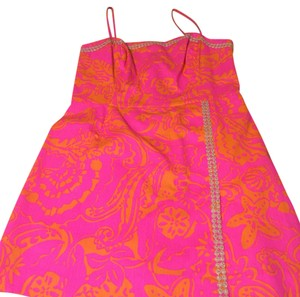Lilly Pulitzer short dress Pink Yellow Silver on Tradesy