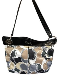 Coach Silver Tote in Grey, Black, and Tan