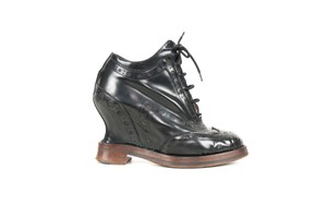 Acne Studios Leather Oxford Wedge Black Boots