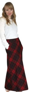 Talbots Checkered Warm Red Maxi Skirt red checkered