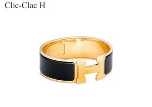 Herms NEW Hermes Clic Clac H bracelet black & gold size GM