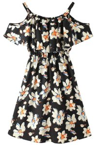 Inomi short dress Black with White and Yellow Floral Summer on Tradesy