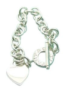 Tiffany & Co. Tiffany & Co Heart Tag Toggle Sterling Silver Bracelet, 7.5