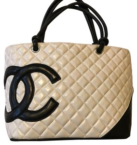 Black and White Chanel Bag Tote in black, white, pink